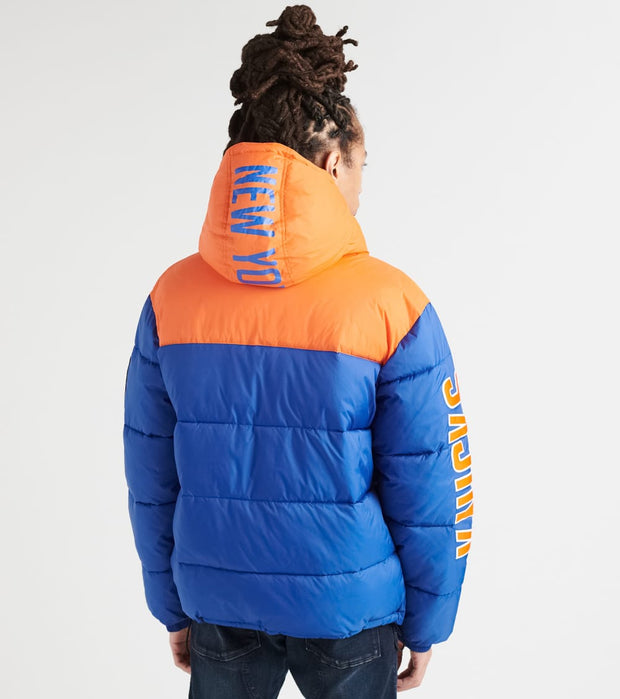 Unk  Knicks Bubble Hooded Jacket  Blue - GOM7717FNY-BLO | Jimmy Jazz