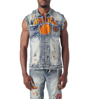 Unk  NY Knicks SLVLS Denim Jacket  Blue - GVM4954SNY-LIN | Jimmy Jazz