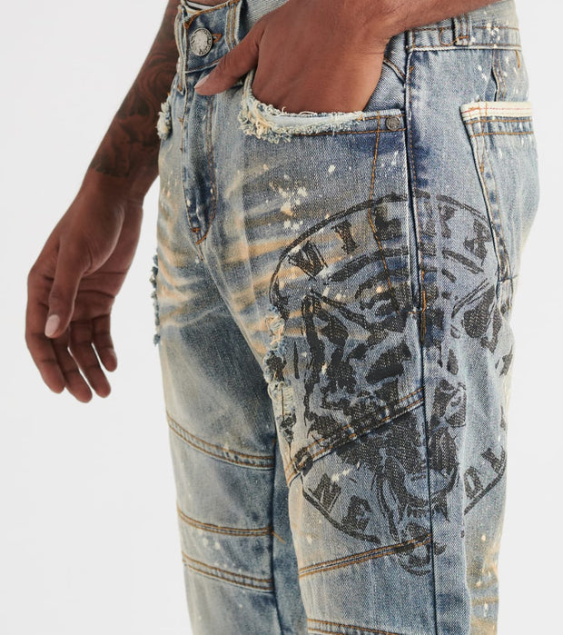 Heritage  5 Pocket Moto Jean W/ Print  Blue - HAWB741-IND | Jimmy Jazz