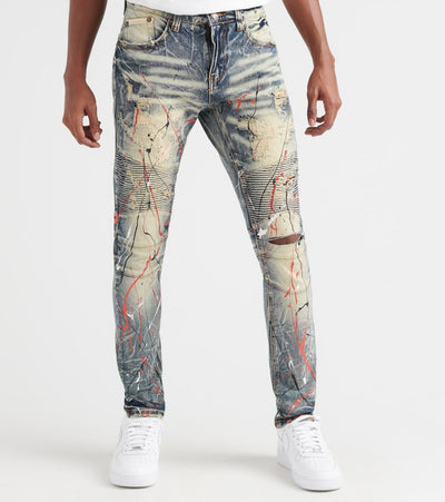 Heritage  5 Pocket Moto Jean With Rips Paint  Blue - HAWB799P-IND | Jimmy Jazz