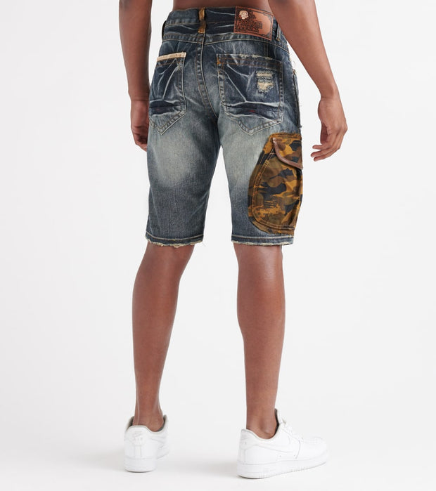 Heritage  Camo Cargo Non-Stretch Shorts  Blue - HAWB809-DIN | Jimmy Jazz