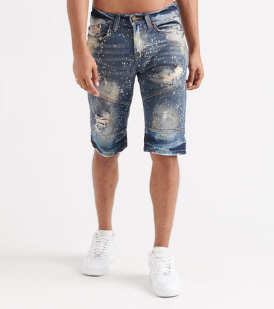 Heritage  Stretch Paint Splatter Shorts  Blue - HAWB812-DIN | Jimmy Jazz