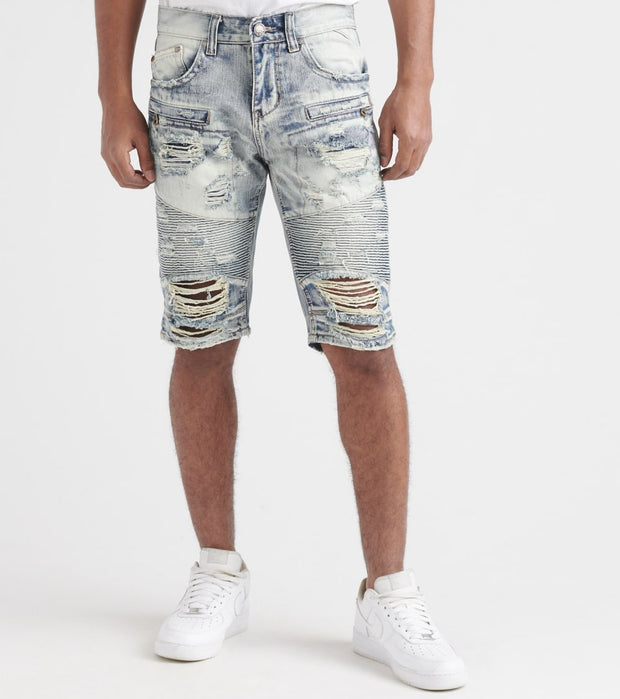 Heritage  Moto Shorts With Rips  Blue - HAWB839-IND | Jimmy Jazz