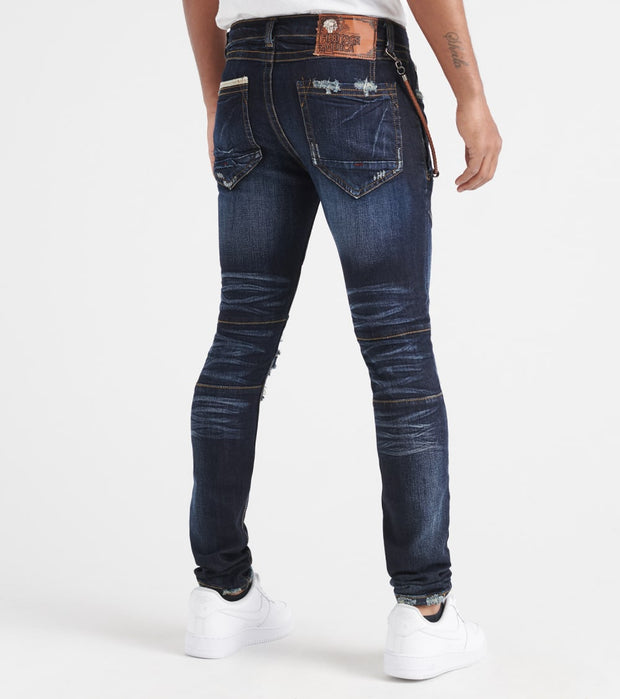 Heritage  Jeans With Whiskers N Rips  Navy - HAWB852-DKW | Jimmy Jazz