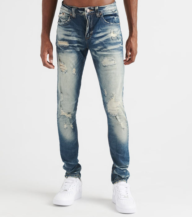 Heritage  5pkt Rips Mending Stitch Jean  Blue - HAWB892-IND | Jimmy Jazz