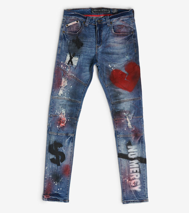 Heritage  Moto Painted Jeans  Blue - HAWB920-IND | Jimmy Jazz