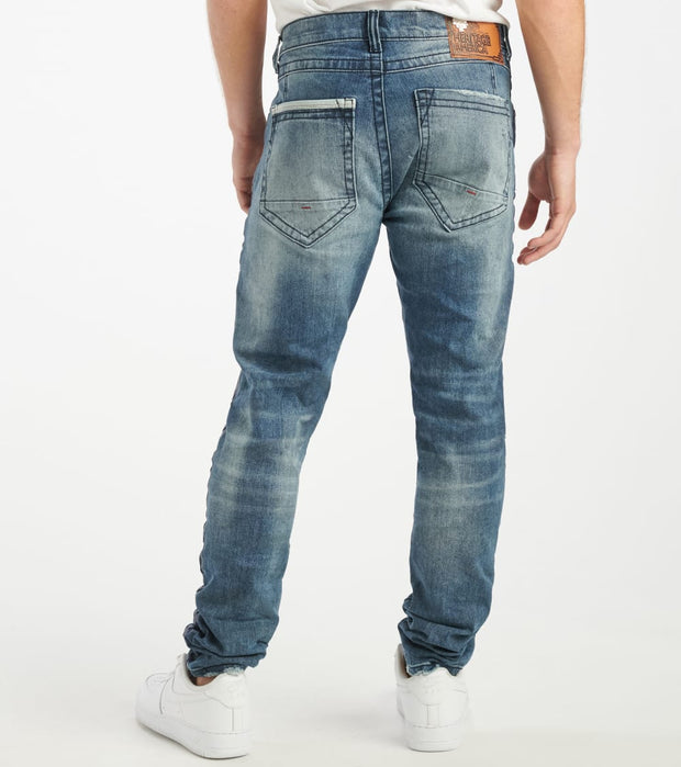 Heritage  5 Pocket Blue Wash Jean  Blue - HAWB922-IND | Jimmy Jazz