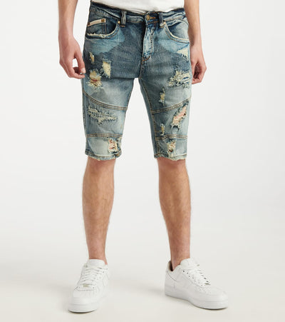 Heritage  Painted Moto Denim Short  Blue - HAWB925-ING | Jimmy Jazz
