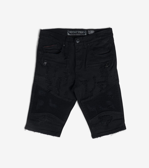 Heritage  Moto Denim Shorts  Black - HAWB926-BLK | Jimmy Jazz