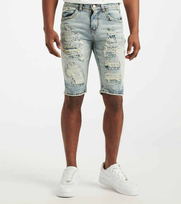 Heritage  Distressed Moto Denim Short  Blue - HAWB927-LTI | Jimmy Jazz