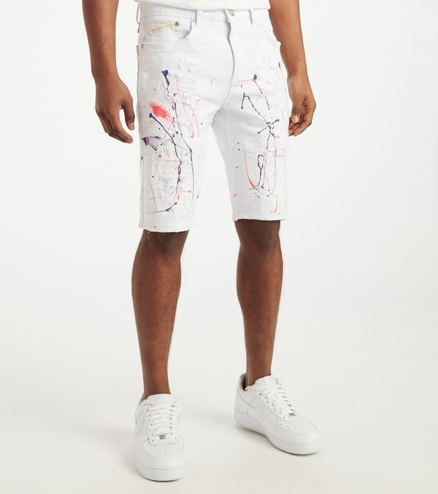 Heritage  Moto Cut Shorts With Paint  White - HAWB928-WHT | Jimmy Jazz