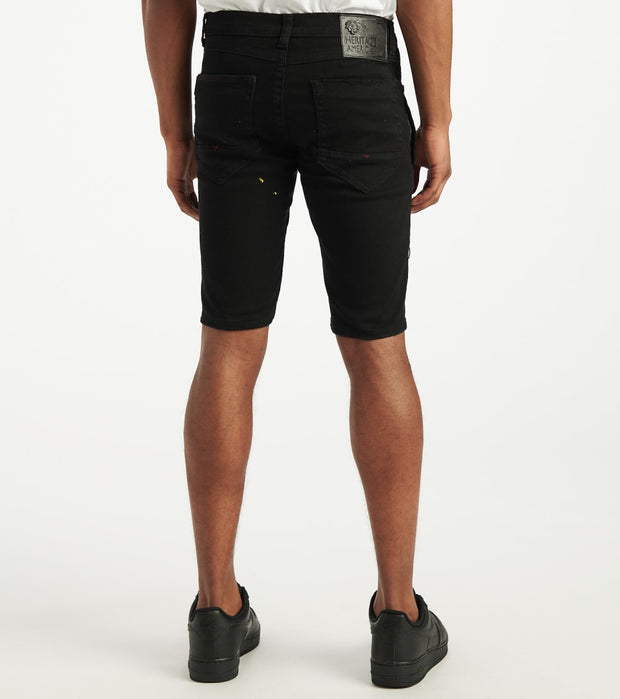 Heritage  Moto Cut Shorts With Paint  Black - HAWB929-BLK | Jimmy Jazz