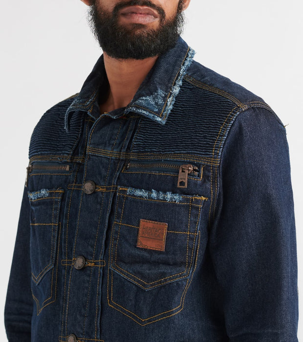Heritage  Denim Jacket W/Zippers  Navy - HAWJKT105-IND | Jimmy Jazz