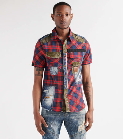 Heritage  Mixed Media Denim Plaid Shirt  Red - HAWT248-RED | Aractidf
