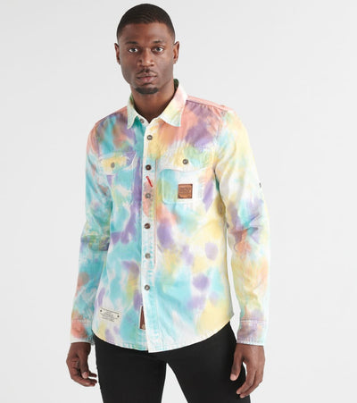 Heritage  Tye Dye Long Sleeve Woven Shirt  Multi - HAWT274-WHT | Jimmy Jazz