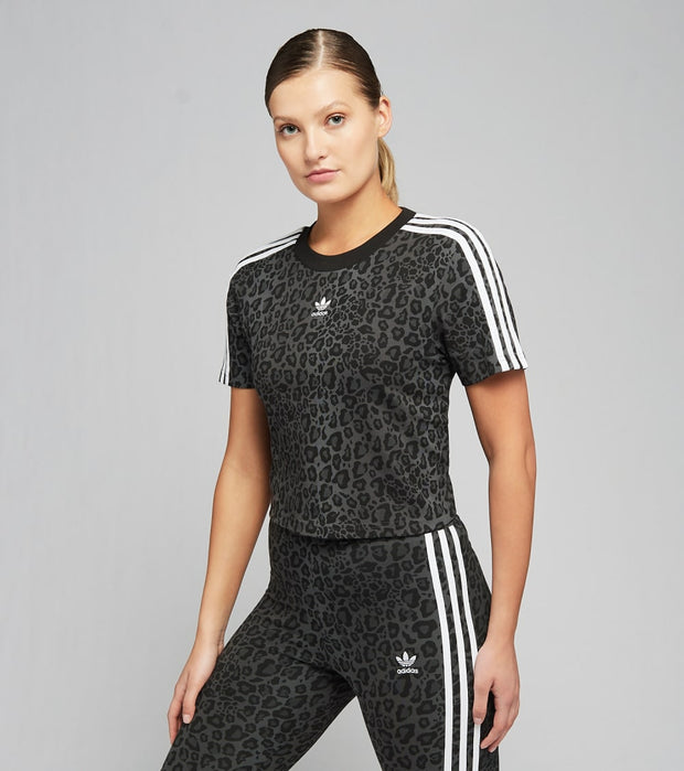 Adidas  Leopard Lux Cropped Tee  Black - HB4757-997 | Jimmy Jazz