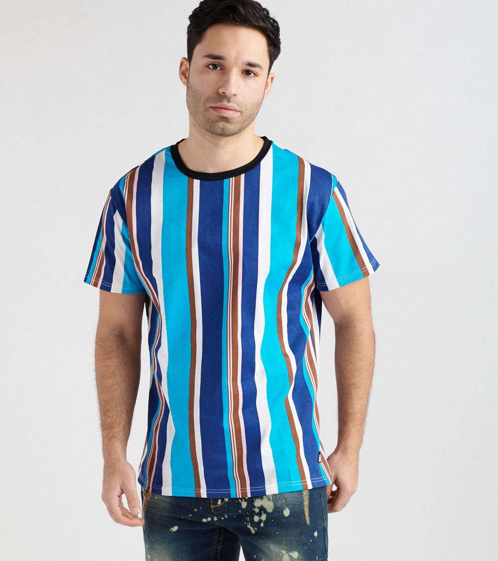 American Stitch  AM Striped Short Sleeve Tee  Multi - HD18S002-NGB | Jimmy Jazz