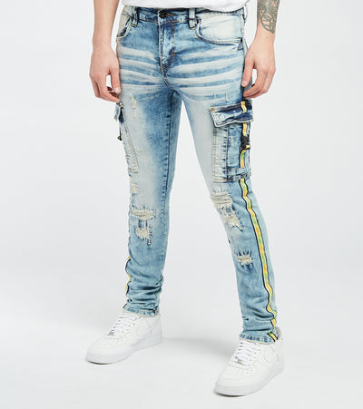 Industrial Indigo  Yellow and Black Side Tape RNR Jeans L32  Blue - INTWB209-MBL | Aractidf