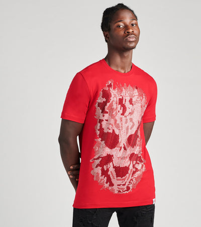 Industrial Indigo  Crystal Stone 3D Skull Tee  Red - ITNKT033-RED | Jimmy Jazz