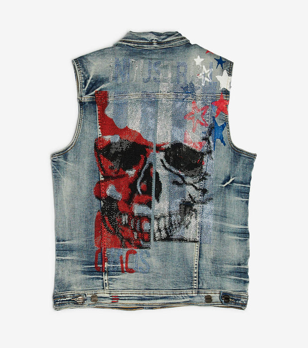 Industrial Indigo  Flag Crystal Stone With Print Vest  Blue - ITNVST001-IND | Jimmy Jazz