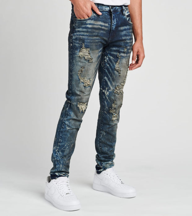 Industrial Indigo  5 Pocket Jeans With Ripped Details L32  Blue - ITNWB048-IND | Jimmy Jazz