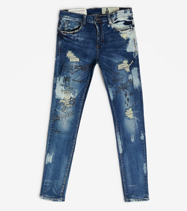 Industrial Indigo  Discharge Bleach Wash W Print Jean  Blue - ITNWB057-IND | Jimmy Jazz