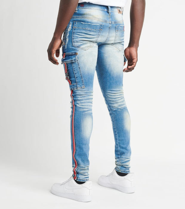 Industrial Indigo  Cargo Pocket Jeans with Side Tape L31  Blue - ITNWB104-IND | Jimmy Jazz