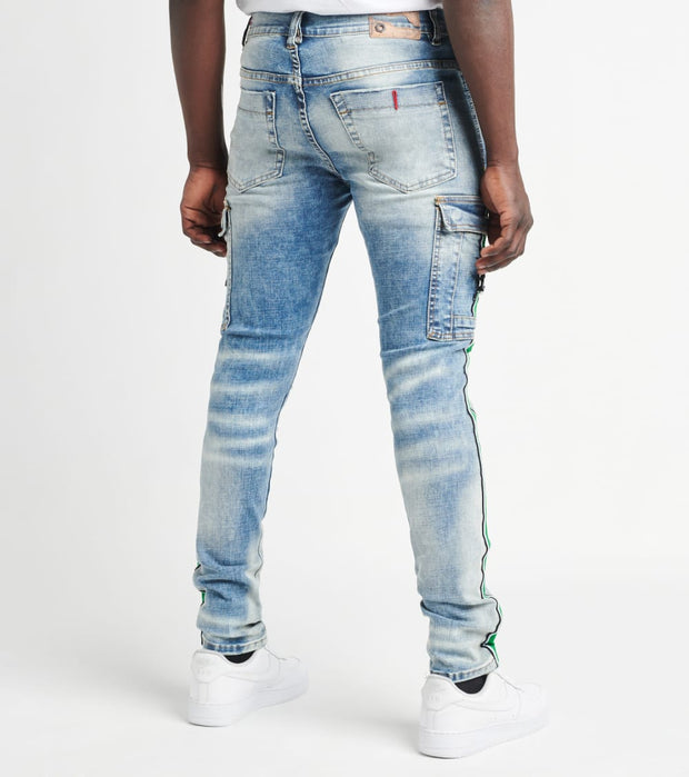 Industrial Indigo  Cargo Pocket Jeans with Side Tape L31  Blue - ITNWB106-IND | Jimmy Jazz