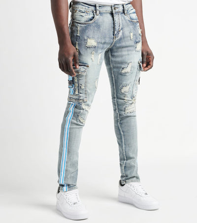 Industrial Indigo  Cargo Pocket Jeans with Side Tape L31  Blue - ITNWB202-IND | Jimmy Jazz
