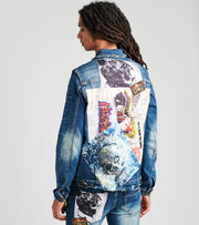 Industrial Indigo  Denim Jacket with Rhinestone Skull  Blue - ITNWJKT007-IND | Jimmy Jazz
