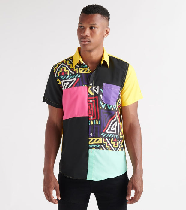 Reason  Mixed Colorblock Woven Shirt  Multi - J16-MLT | Aractidf