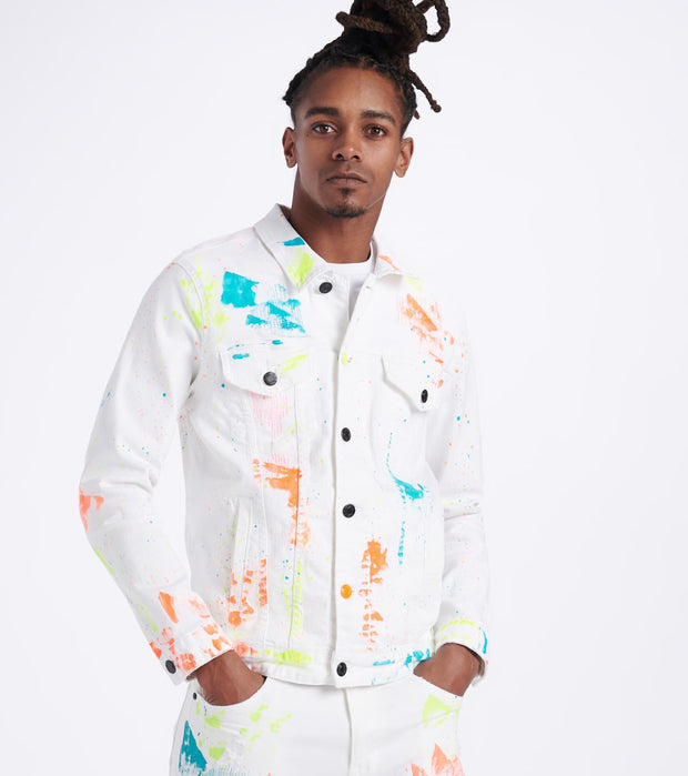 Decibel  Paint Splatter Denim Jacket  White - JJ20130-WHT | Jimmy Jazz