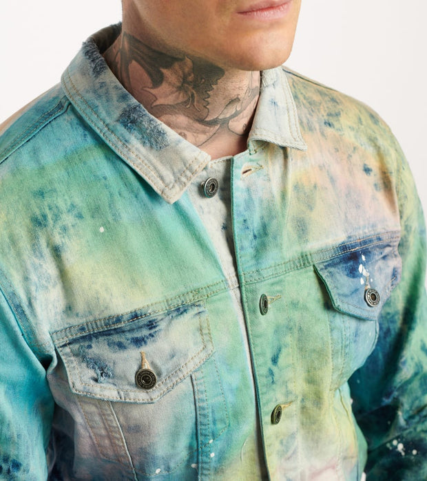 Decibel  Multi Tie Dye Denim Jacket  Blue - JJ20238-MBL | Jimmy Jazz