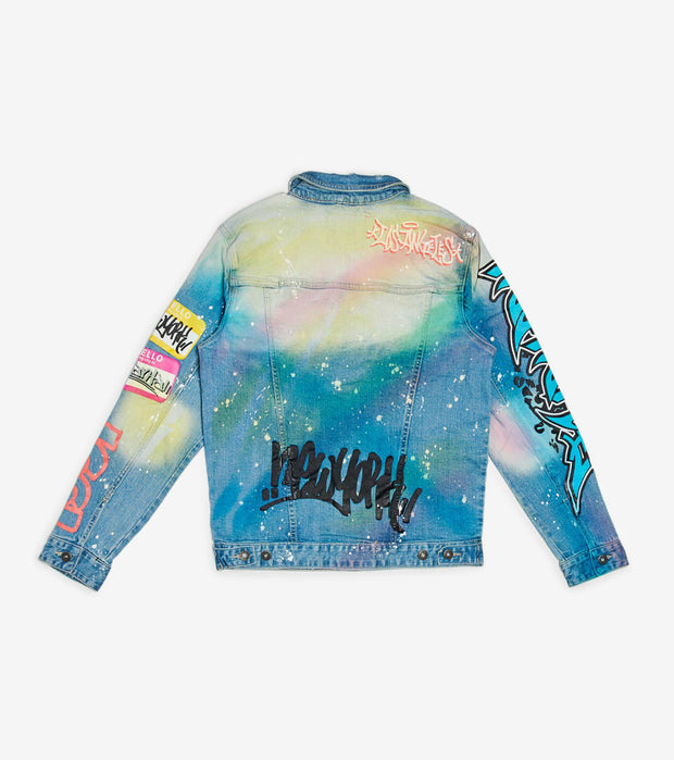 Decibel  Multi Paint and Patches Denim Jacket  Blue - JJ20239-HBL | Jimmy Jazz