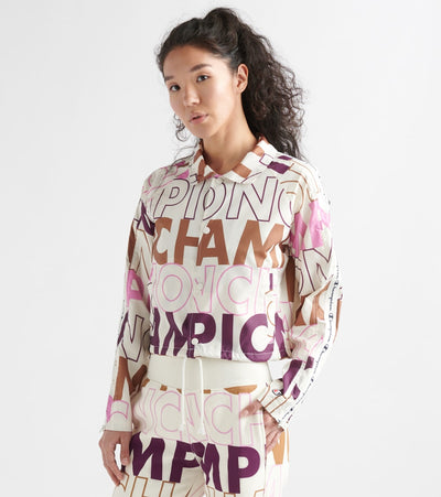 Champion  Crop Coach Jacket Aop Big Block  Natural - JL850P-7P | Jimmy Jazz
