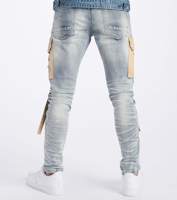 Decibel  Denim Cargo Jeans With Moto Detail  Blue - JP20125L32-RVR | Jimmy Jazz