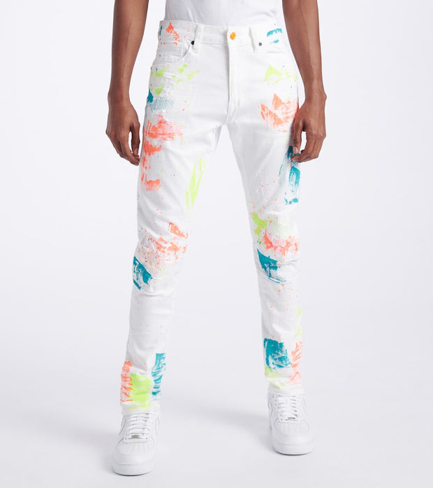 Decibel  Paint Splatter Slim Tapered Jeans  White - JP20130L34-WHT | Jimmy Jazz