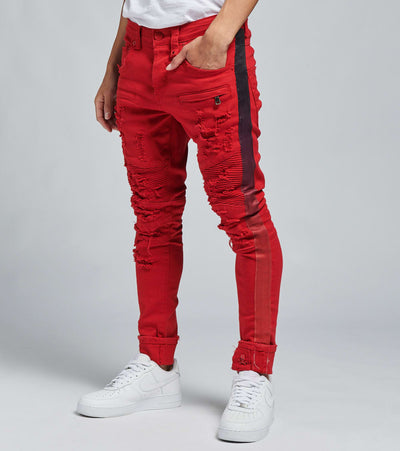 Smugglers Moon  Smugglers Moto Gradient Tape Jeans L33  Red - JSMWB003-RDB | Jimmy Jazz