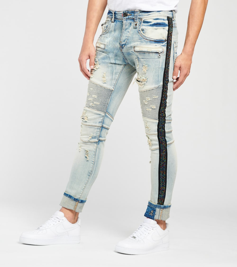 Smugglers Moon  Moto Jeans With Multi Crystals L32  Blue - JSMWB017-IND | Jimmy Jazz