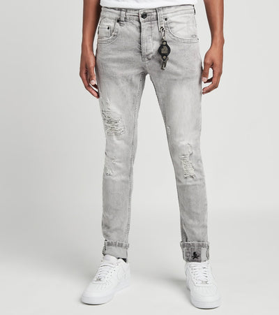 Smugglers Moon  5 Pocket Jeans with Rips and Repair L32  Grey - JSMWB022-GRY | Jimmy Jazz