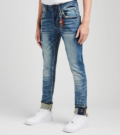 Smugglers Moon  5 Pocket Jeans with Rips and Baking L32  Blue - JSMWB024-DIN | Jimmy Jazz