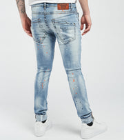 Smugglers Moon  Ripped Paint Splatter Jeans L32  Blue - JSMWB035-IND | Jimmy Jazz