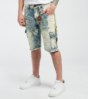 Smugglers Moon  Mesh Tape Distressed Cargo Denim Shorts  Blue - JSMWB039-IND | Jimmy Jazz