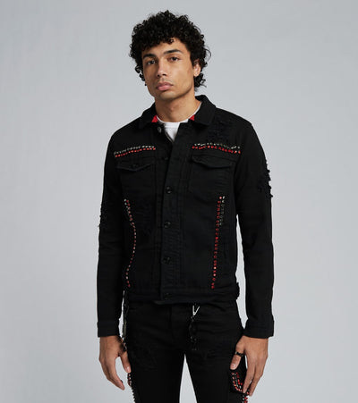 Smugglers Moon  Crystal Embellished Denim Jacket  Black - JSMWJKT003-BLK | Jimmy Jazz