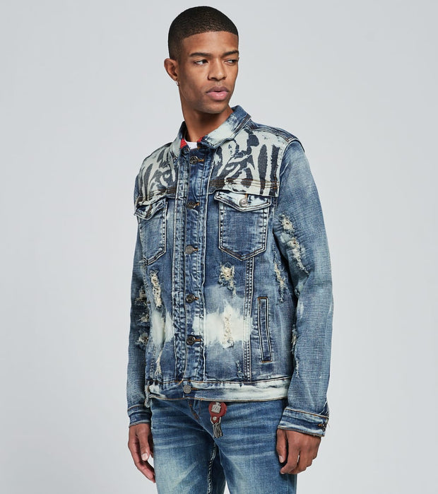 Smugglers Moon  Saigon Tiger Print Denim Jacket  Blue - JSMWJKT004-MWS | Jimmy Jazz