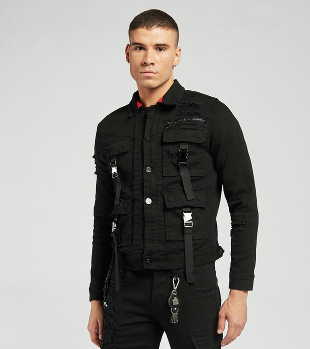 Smugglers Moon  Cargo Denim Jacket  Black - JSMWJKT008-BLK | Jimmy Jazz