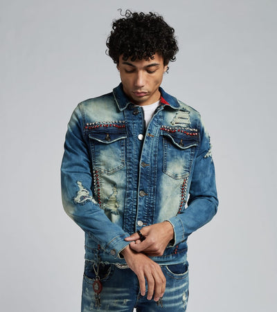 Smugglers Moon  Crystal Embellished Denim Jacket  Blue - JSMWJKT012-IND | Jimmy Jazz
