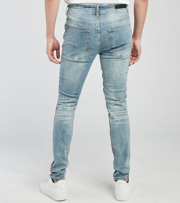 KD Apparel   RNR Jeans with Moto Ribs n Paint L30  Blue - KD2007L30-MBL | Jimmy Jazz