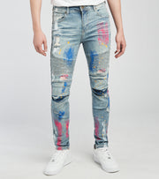 KD Apparel   RNR KD Jeans with Moto Ribs n Paint L32  Blue - KD2007L32-MBL | Jimmy Jazz