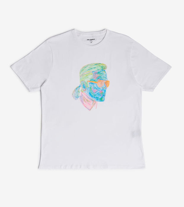 Karl Lagerfeld  Karl Neon Sketch Tee  White - LM0K3612-WHT | Jimmy Jazz